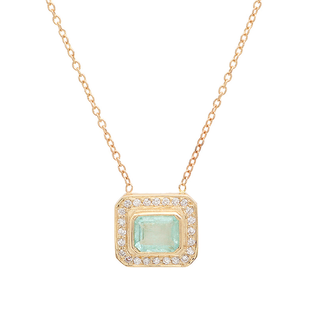 Paraiba Tourmaline Halo Necklace - rosedale-jewelry