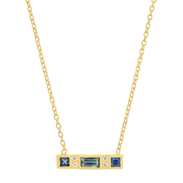 Sapphire Bar Necklace - Rosedale Jewelry