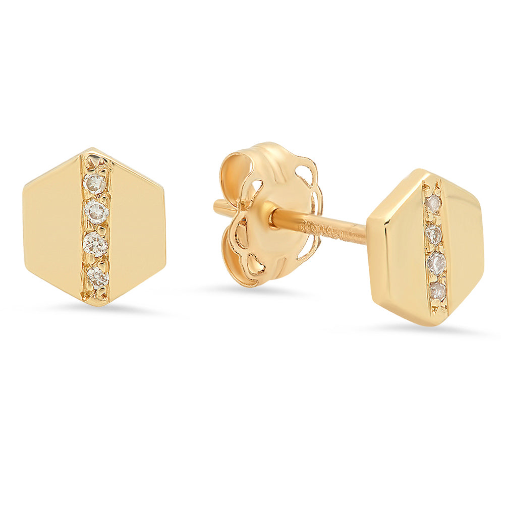 Petite Hexagon Earrings - Rosedale Jewelry