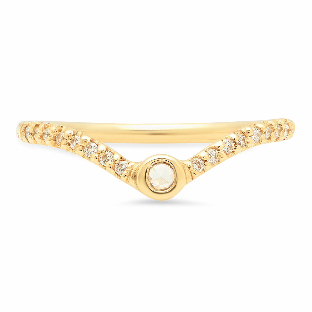 Rose cut V Diamond Band - rosedale-jewelry