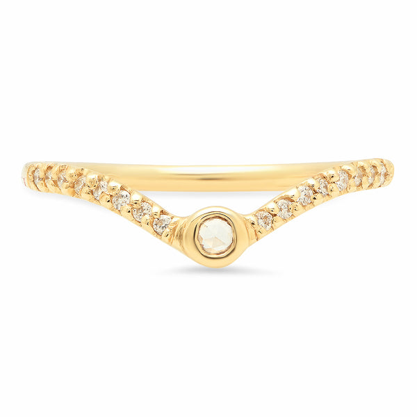 Rose cut V Diamond Band - Rosedale Jewelry