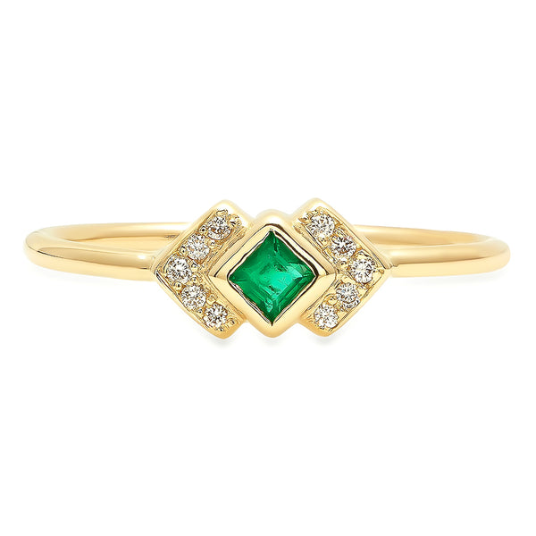 Emerald Chevron Ring - Rosedale Jewelry