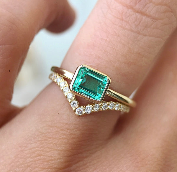 Emerald Cut Emerald Ring - Rosedale Jewelry