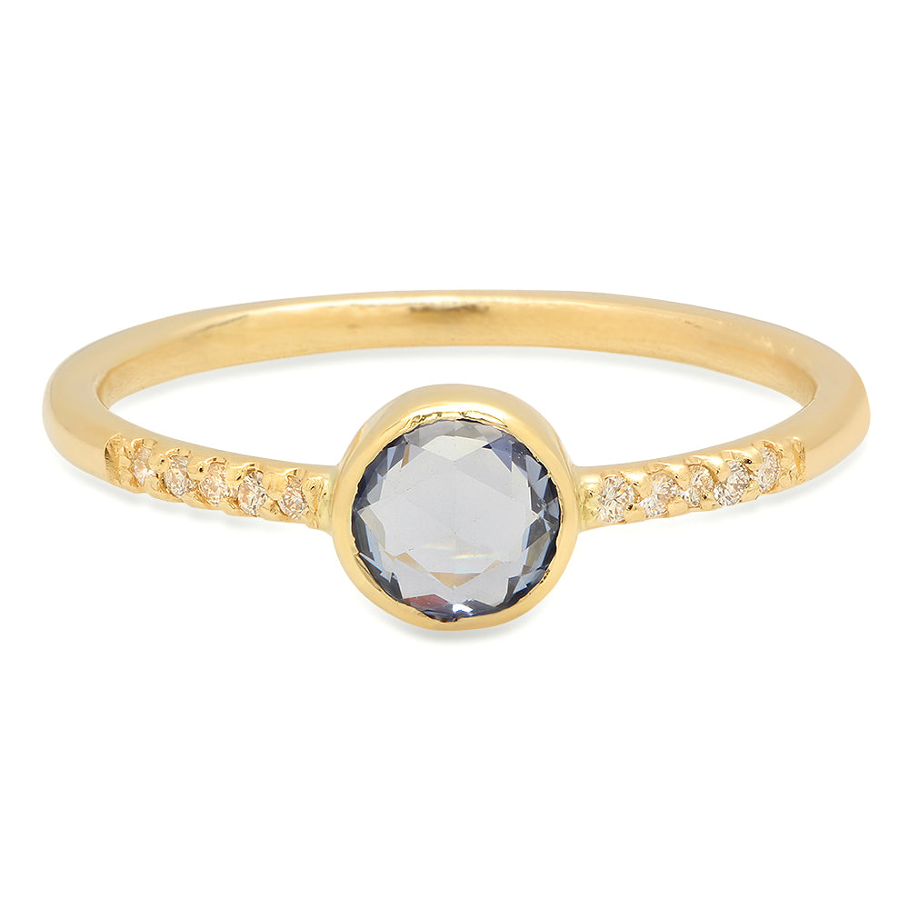 Rose Cut Blue Sapphire Ring - rosedale-jewelry