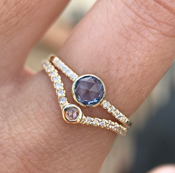 Rose Cut Blue Sapphire Ring - Rosedale Jewelry