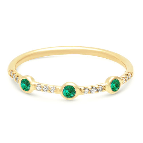 Trinity Pave Emerald Band - Rosedale Jewelry