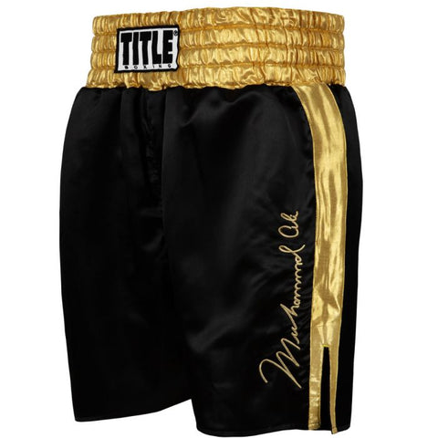Muhammad Ali Signature Boxing Trunks Shorts Black Gold Autograph
