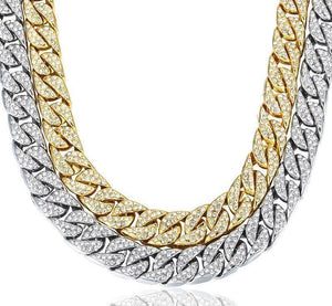 Iced Out Cuban Chain Gold and Silver