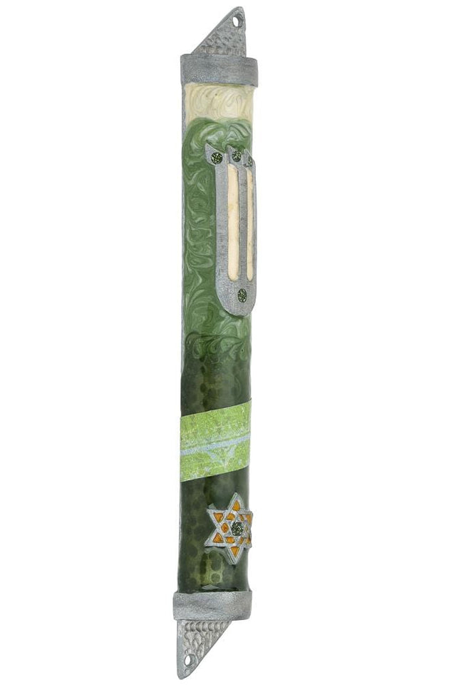 Midnight Green Mezuzah - Star of David