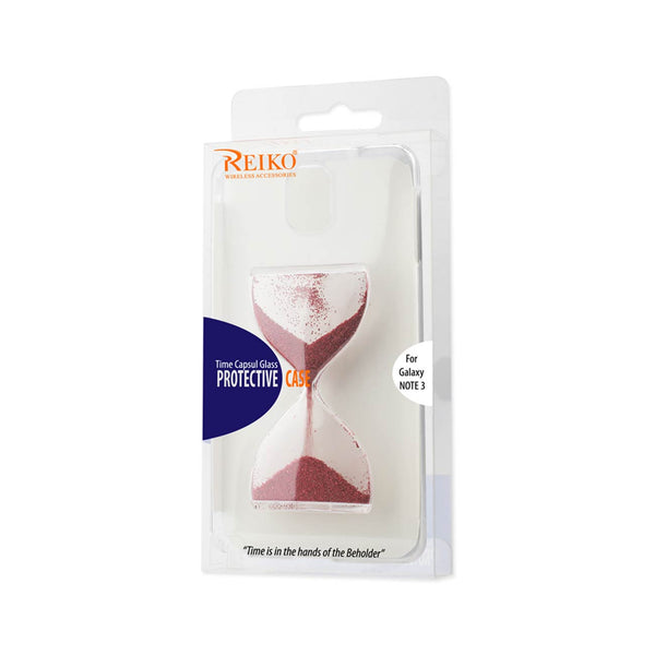 REIKO SAMSUNG GALAXY NOTE 3 3D SAND CLOCK CLEAR CASE IN RED