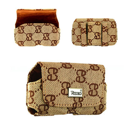 HORIZONTAL POUCH NYLON HN03 S IN BROWN WITH DOUBLE E DESIGN 3.5X1.9X0.9 INCHES