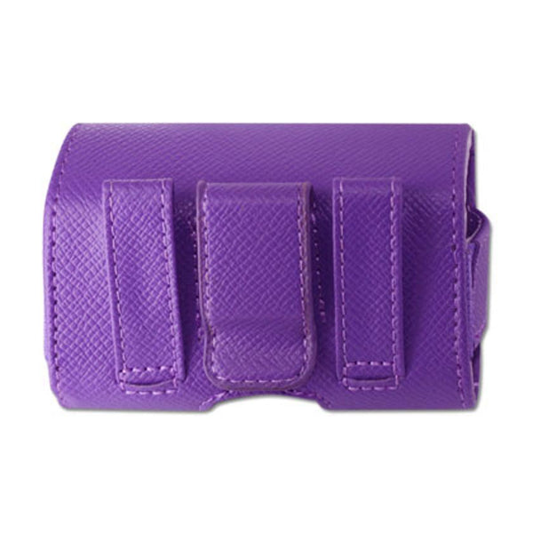 REIKO LEATHER HORIZONTAL POUCH WITH SNAKE SKIN PATTERN S SIZE (3.5X1.9X0.91 INCHES) IN PURPLE