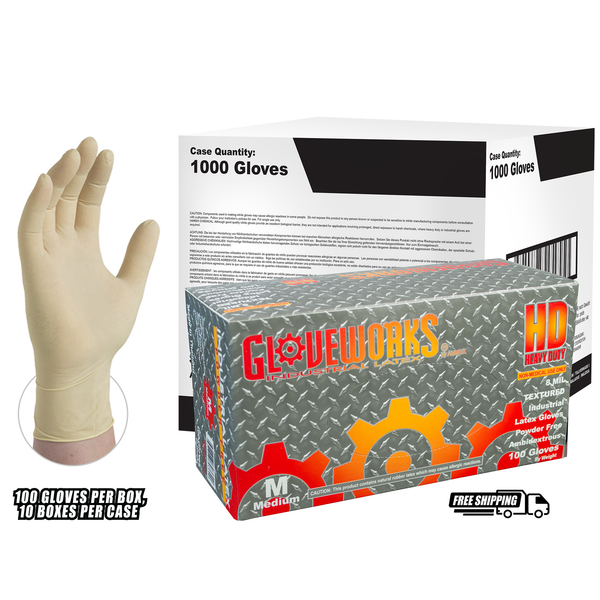 Ivory Latex Industrial Powder Free Disposable Gloves (Case of 1000) - X-Large