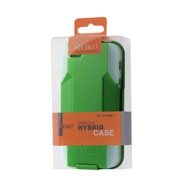 REIKO IPHONE SE/ 5S/ 5 3-IN-1 HYBRID HEAVY DUTY HOLSTER COMBO CASE IN GREEN CLEAR