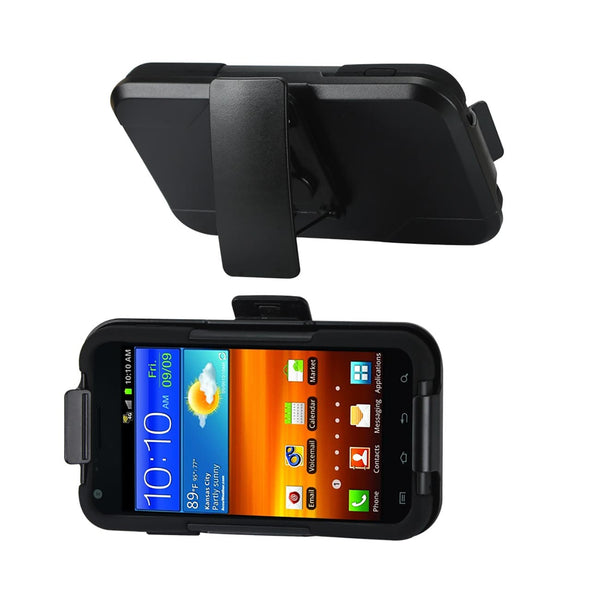 REIKO SAMSUNG EPIC 4G TOUCH 3-IN-1 HYBRID HEAVY DUTY HOLSTER COMBO CASE IN BLACK