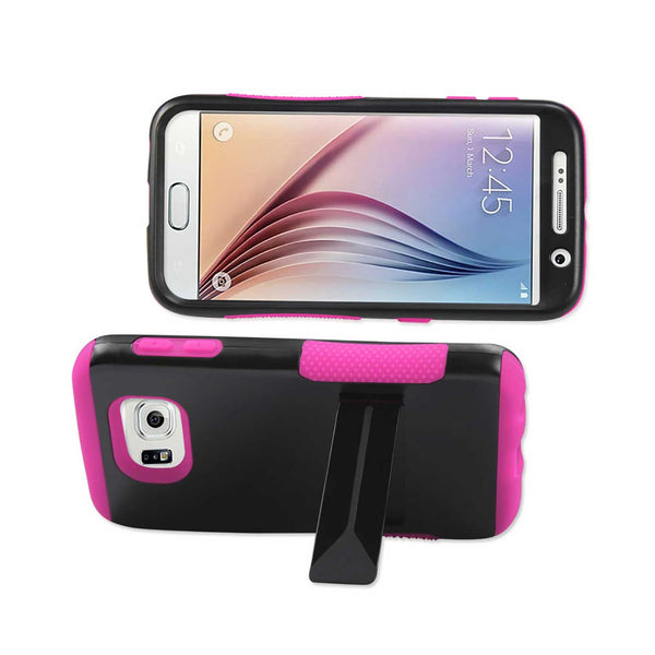 REIKO SAMSUNG GALAXY S6 HYBRID HEAVY DUTY GRIP CASE WITH LOWER KICKSTAND IN HOT PINK BLACK
