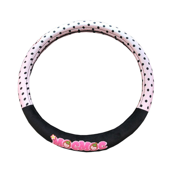 Lovely MocMoc Design Automotive Steering Wheel Cover Polka Dot Pink/Black
