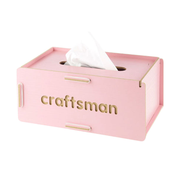 Wooden Rectangle Automobile/Home/Office Tissue Holders Paper Napkin Box Pink