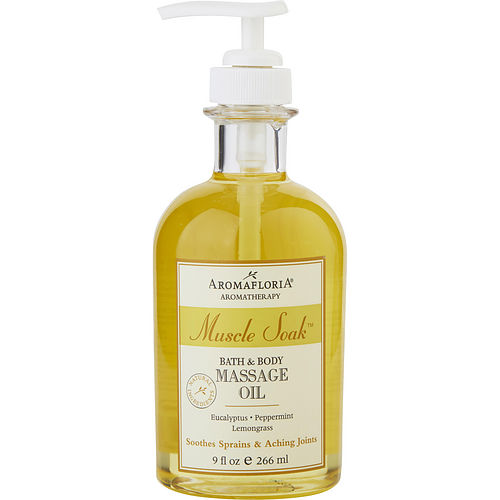 MUSCLE SOAK by Aromafloria BATH AND BODY MASSAGE OIL 9 OZ BLEND OF EUCALYPTUS, PEPPERMINT, AND LEMONGRASS