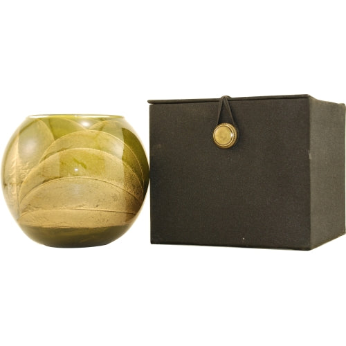 OLIVE CANDLE GLOBE by OLIVE CANDLE GLOBE THE INSIDE OF THIS 4 in POLISHED GLOBE IS PAINTED WITH WAX TO CREATE SWIRLS OF GOLD AND RICH HUES AND COMES IN A SATIN COVERED GIFT BOX. CANDLE IS FILLED WITH A TRANSLUCENT WAX AND SCENTED WITH MYSTERIA. BURNS APPR