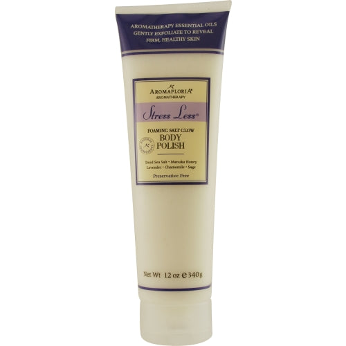 STRESS LESS by Aromafloria FOAMING SALT BODY POLISH 12 OZ BLEND OF LAVENDER, CHAMOMILE, AND SAGE