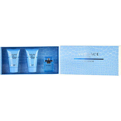 VERSACE MAN EAU FRAICHE by Gianni Versace EDT .17 OZ MINI & AFTERSHAVE BALM .8 OZ & SHOWER GEL .8 OZ