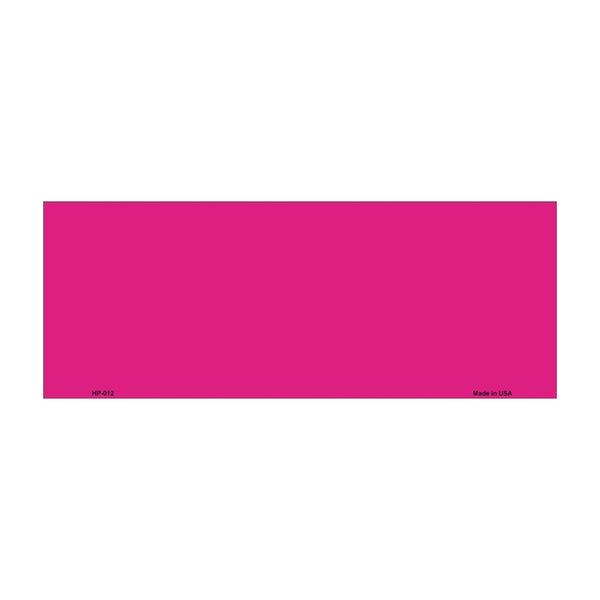 "Solid Pink Vanity Automotive Half License Plate Blank Tag - 4.5"""" x 12"""""