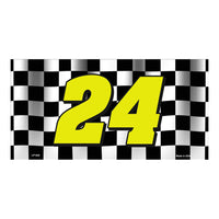 Jeff Gordon NASCAR #24 Checkered Racing Flag Novelty Vanity Metal License Plate Tag Sign