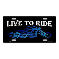 Live to Ride Biker Blue Flames Choppers Motorcycle Novelty Vanity Metal License Plate Tag Sign