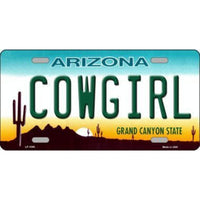 COWGIRL Arizona Novelty State Background Vanity Metal License Plate Tag Sign