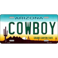 COWBOY Arizona Novelty State Background Vanity Metal License Plate Tag Sign