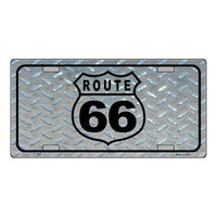 Route 66 Shield Diamond Novelty Vanity Metal License Plate Tag Sign