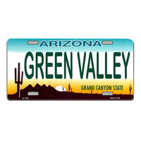 GREEN VALLEY Arizona Novelty State Background Vanity Metal License Plate Tag Sign