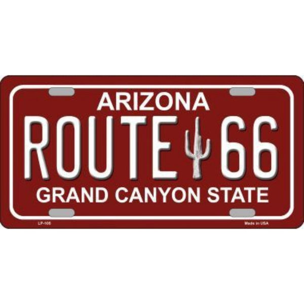 ROUTE 66 Arizona Red Novelty State Background Vanity Metal License Plate Tag Sign