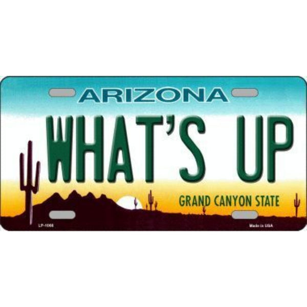 WHAT'S UP Arizona Novelty State Background Vanity Metal License Plate Tag Sign Closeout