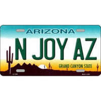 N JOY AZ Arizona Novelty State Background Vanity Metal License Plate Tag Sign