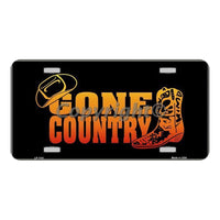 Gone Country Novelty Vanity Metal License Plate Tag Sign