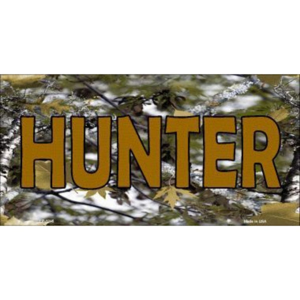 HUNTER Camouflage Novelty Vanity Metal License Plate Tag Sign
