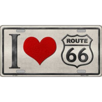 I Love Route 66 Novelty Vanity Metal License Plate Tag Sign