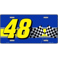 Racing #48 Checkered Flags Novelty Vanity Metal License Plate Tag Sign