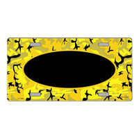 Yellow Black Camouflage Pattern with Center Oval Customizable Metal Novelty License Plate Tag Sign