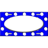 Royal Blue White Polka Dot Pattern with Center Oval Background Customizable Metal Novelty License Plate Tag Sign