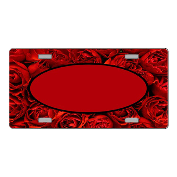 Red Roses Center Oval Customizable Vanity Metal Novelty License Plate Tag Sign