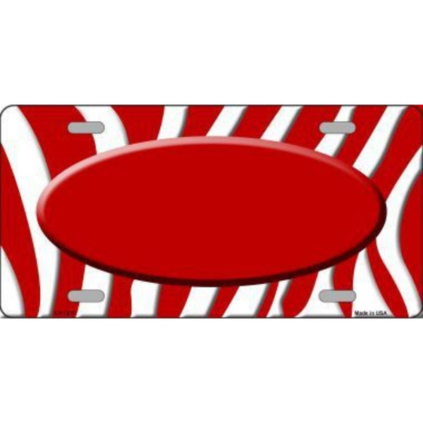 Red White Zebra Pattern with Center Oval Customizable Metal Novelty License Plate Tag