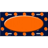 Navy Blue Orange Polka Dot Pattern with Center Oval Customizable Metal Novelty License Plate Tag