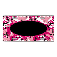 Pink Camo Pattern with Center Oval Customizable Metal Novelty License Plate Tag Sign