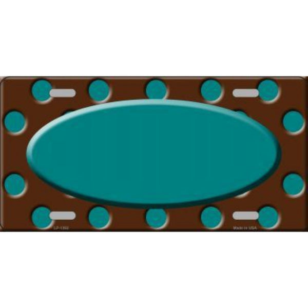 Teal Brown Polka Dot Pattern with Center Oval Customizable Metal Novelty License Plate Tag Sign