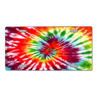 Red Swirl Tie-Dye Customizable Vanity Metal Novelty License Plate Tag Sign