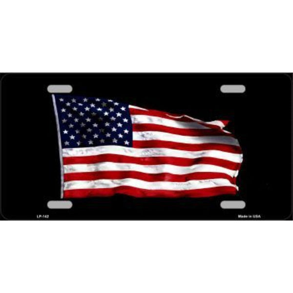 Waving American Flag Black Background Vanity Metal Novelty License Plate Tag Sign