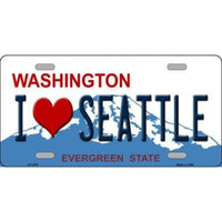 I LOVE SEATTLE WA Novelty State Background Vanity Metal License Plate Tag Sign